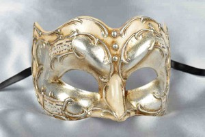 Joker Melody - Half Face Joker Masquerade Masks with Musical Notes in cream and silver