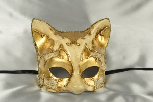 Gatta Melody Gold - Venetian Kitten Mask with Musical Notes
