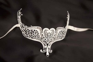White Ali Lux - Luxury Filigree Mask that can be worn with Glasses