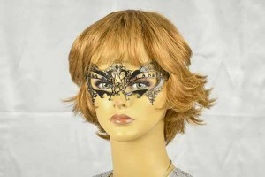 Laser cut metal masquerade mask - Fortuna on model face
