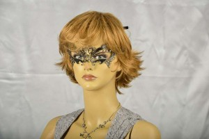 Laser cut metal masquerade mask - Fortuna Strass on female face