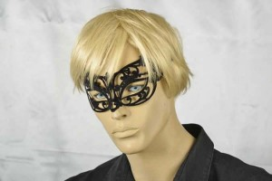 masquerade ball mask flock metal mask on male face