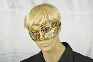 masquerade ball mask with Venetian Scenes on male face