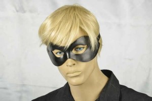 Leather batman masquerade mask on male model face