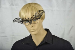 masquerade mask for glasses Ninfa Strass attached to spectacles