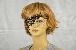 black flock velvet phantom masquerade mask on female face