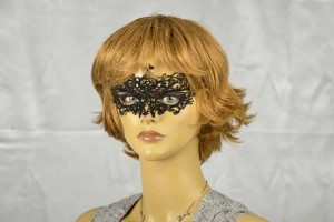 Black Lace flock Masked Ball Mask on female model face