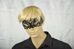 Uomo Flock Strass masquerade mask on male face
