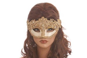 gold masquerade masks for women on female face