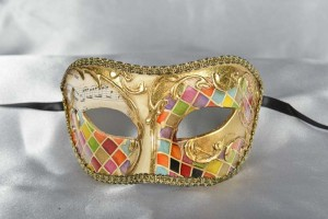 mosaic decorated colombina masquerade mask