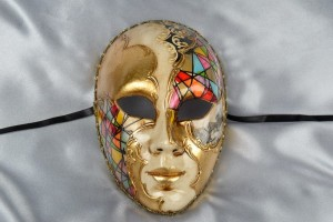 multi colour full face mask with scenes of Venice