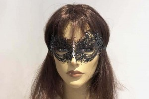 black lace metal luxury mask on female face
