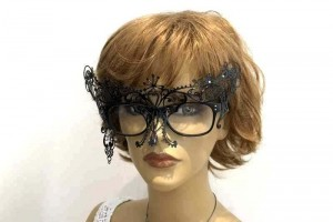 Masquerade masks for glasses Phantom attached to womans spectacles