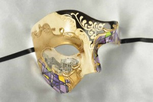 Purple Phantom of the opera mask with Venetian Scenes