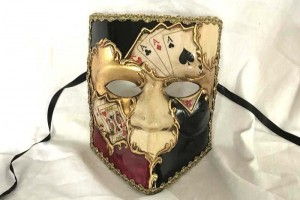Poker decorated Bauta masquerade mask