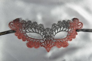red Burano Lace Mask