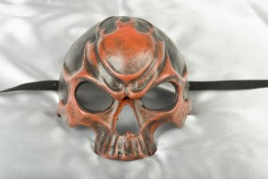fire red human skull Halloween mask