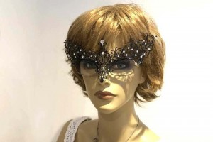 masquerade mask for glasses Ricciolina Strass attached to spectacle frames