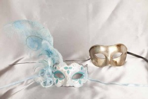 two turquoise silver masquerade masks