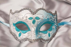 Iris mask in turquoise