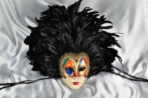 Full face feathered Venice carnival mask
