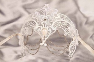 White Corona Lux - Luxury Ladies Metal Mask with Crystals