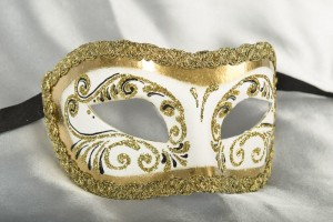 white and gold Venetian ball mask