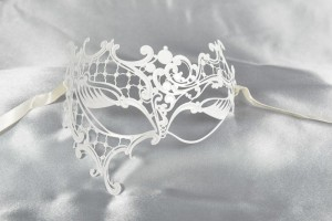 white lace metal phantom masquerade mask