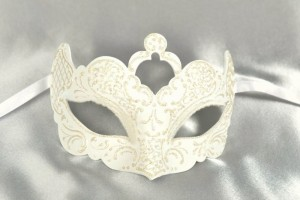 White Rialto shaped wedding masquerade mask