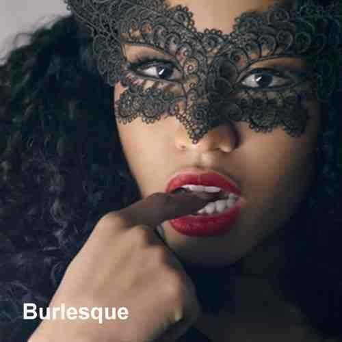Woman wearing burlesque lace mask