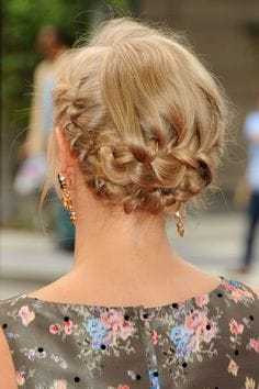 Double Braided Updo Hairstyle for masked ball