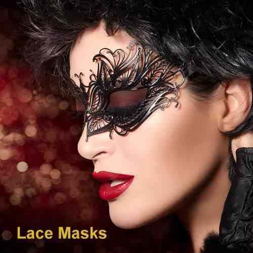 Photos of lace masks on women