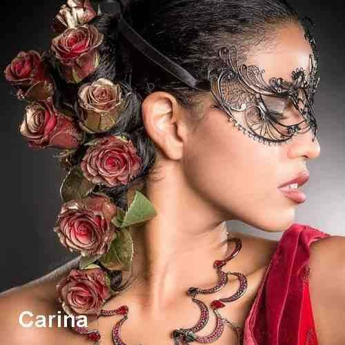 Side view of woman in filigree mask