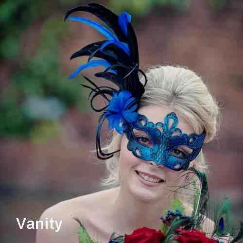 Lady wearing Vanity feather mask